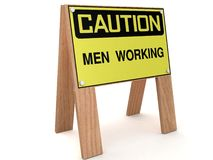 CAUTION: Men working Stock Images