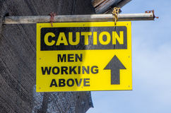 Caution men working above Royalty Free Stock Photography