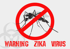 Caution of mosquito icon, spread of zika and dengue virus Royalty Free Stock Photography