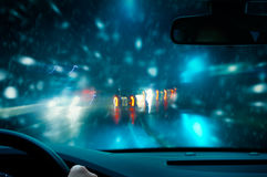 Caution - Night Driving Stock Image