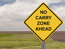 Caution - No Carry Zone Ahead. Caution Sign - No Carry Zone Ahead Stock Photo