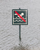 Caution No Swimming allowed Royalty Free Stock Image