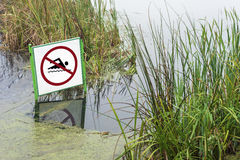 Caution no swimming Stock Images