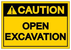 Caution Open Excavation Symbol Sign, Vector Illustration, Isolate On White Background Label. EPS10 vector illustration