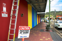Caution painters at work sign Stock Images