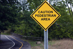Caution - Pedestrian area Stock Photos