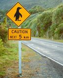 Caution penguin sign Stock Photo