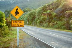 Caution penguin sign Royalty Free Stock Photo