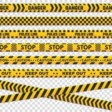 Caution perimeter stripes. Isolated black and yellow police line do not cross for criminal scene. Security lines sign or stock illustration