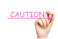 Caution, pink marker Royalty Free Stock Image