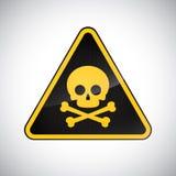 Caution poison hazard sign. Black yellow carbon warning poison hazard sign on white background. Information vector icon. Design