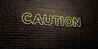 CAUTION -Realistic Neon Sign on Brick Wall background - 3D rendered royalty free stock image Royalty Free Stock Image