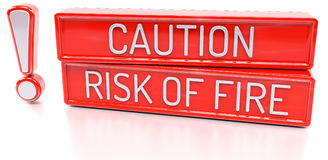 Caution, Risk of Fire - 3d banner,  on white background. Caution, Risk of Fire - red 3d banner,  on white background Stock Photography