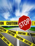 Caution on road Royalty Free Stock Photography