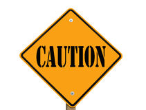 Caution road sign isolated Royalty Free Stock Photo