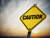 Caution road sign Stock Image