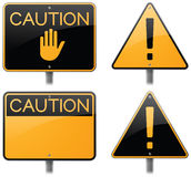 Caution Road Signs. And warning signs Royalty Free Stock Photography