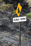 Caution rock fall sign on Ballybunion beach Stock Image