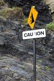 Caution rock fall sign on Ballybunion beach Stock Image