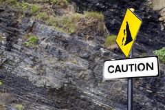 Caution rock slide sign on Ballybunion beach Stock Photo