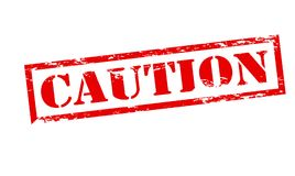 Caution. Rubber stamp with word caution inside,  illustration Royalty Free Stock Photos