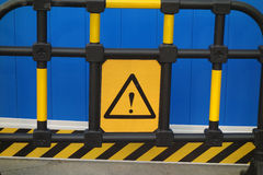 Caution safety sign. In the construction site Stock Photo