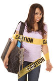 Caution shopper wrapped scared Royalty Free Stock Photo