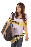 Caution shopper wrapped smirk Stock Photo