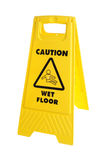 Caution Sign. Photograph of a Sign used for cleaning with Caution wet floor,shot in studio and isolated on white Stock Image
