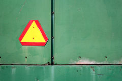 Caution Sign. On back of farm wagon Royalty Free Stock Images