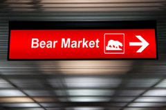 Caution Sign ,Bear Market Ahead. Red Color.  Royalty Free Stock Photography