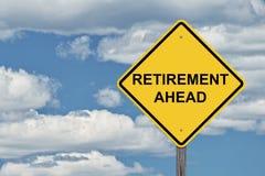 Caution Sign Blue Sky - Retirement Ahead. Caution Sign Blue Sky Background - Retirement Ahead stock photo