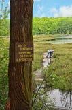 Caution Sign at Bog Royalty Free Stock Photos