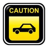 Caution sign - car Stock Photo