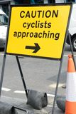 Caution sign for cyclists Stock Photos