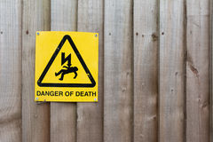 Caution Sign: Danger of Death. On Wood background stock image