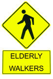 Caution Sign Elderly Walkers Royalty Free Stock Image