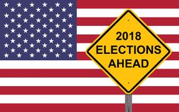Caution Sign - 2018 Election Ahead. Flag Background royalty free illustration