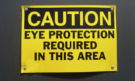 Caution Sign: Eye Protection Stock Photos
