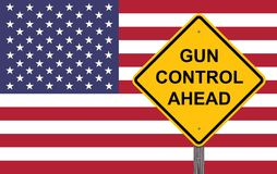 Caution Sign - Gun Control Ahead. With Flag Background Stock Photos