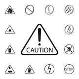 Caution sign icon. Detailed set of Warning signs icons. Premium quality graphic design sign. One of the collection icons for websi. Tes, web design, mobile app Stock Photos