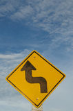 Caution Sign. A road sign with the Arrow Royalty Free Stock Images