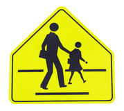 Caution sign - school crossing. Road sign  caution sign - school crossing Royalty Free Stock Photography