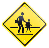 Caution sign - school crossing. Road sign  caution sign - school crossing Stock Image