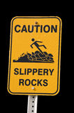 Caution Sign for Slippery Rocks. A Yellow Sign Warning of Slippery Rocks Isolated on Black Background royalty free stock photos