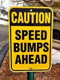 Caution Sign. Caution: Speed Bumps Ahead Stock Photography