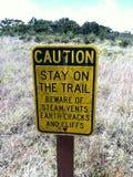 Caution sign steam vents valcano hawaii Stock Photography
