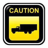 Caution sign - truck Stock Photo