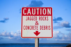 Caution Sign. A Caution Sign warning beach goers of possible dangers Stock Photography