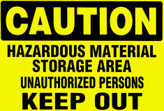 Caution Sign, warning of hazardoud materials. Stock Photos